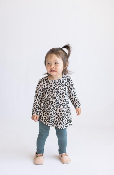 Tiny Button Apparel - Layered Twirl Top - Leopard