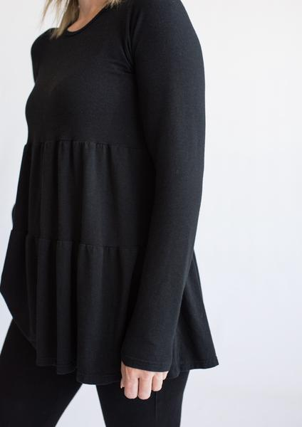 Tiny Button Apparel - Ladies Layered Twirl Top - Black