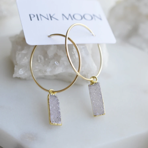 Pink Moon Jewelry - Druzy Gold Hoop Earrings