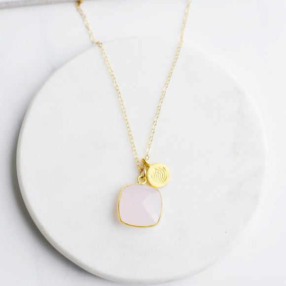 Pink Moon Jewelry - Love that Grows Rose Quartz Gold Necklace