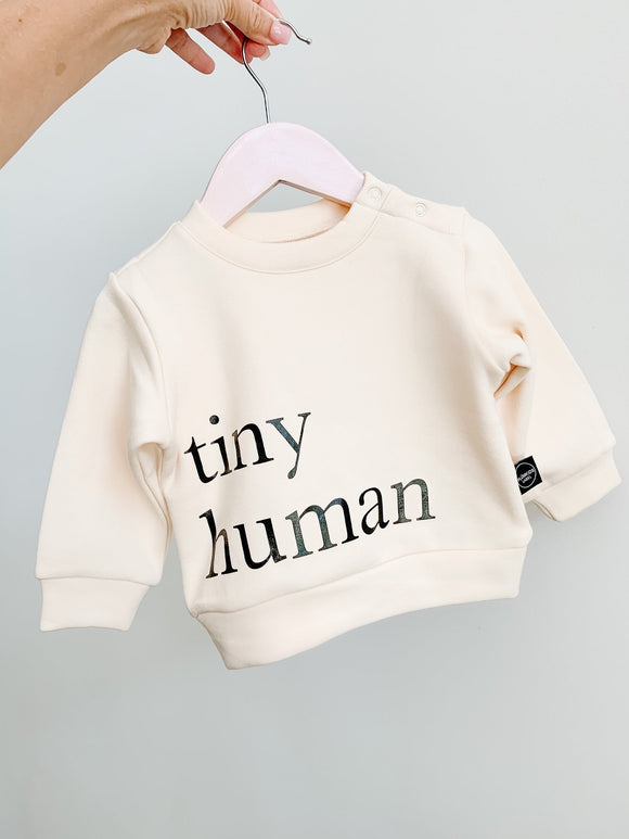 Plumkids Labels -  Tiny Humans Fleece Sweater - Natural