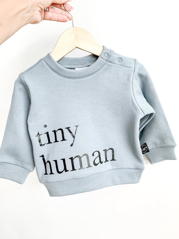 Plumkids Labels -  Tiny Humans Fleece Sweater - Seafoam Blue