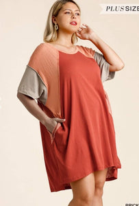 Town & Country Vintage Home - Rust Short Sleeve Tunic With Beige Detail