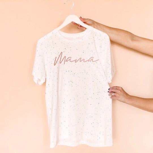 "My Cheeky Baby-Rose Gold ""Mama"" White Speckle Unisex Crewneck T-Shirt"