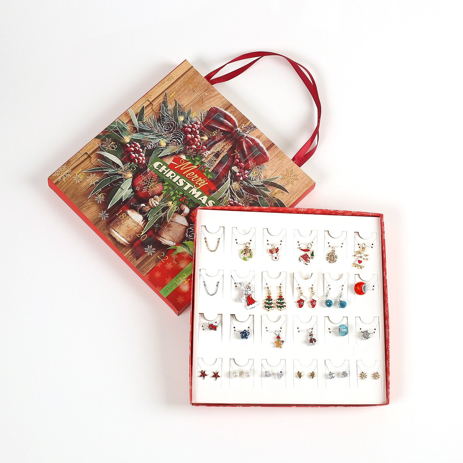 2020 NEW Advent Calendars Countdown Calendar with 24 Necklace Earring Portable Gift Box Christmas Gifts for Girls Charms Jewelry