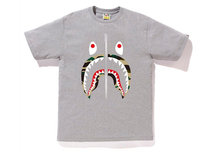 BAPE 1st Camo Shark Tee Tee Grey/Yellow Size XL