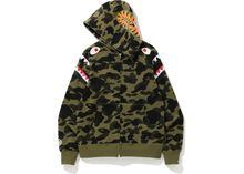 Load image into Gallery viewer, BAPE 1st Camo Shark Shoulder Full Zip Hoodie Green Size S
