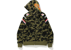 BAPE 1st Camo Shark Shoulder Full Zip Hoodie Green Size S