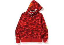 Load image into Gallery viewer, BAPE Color Camo PONR Shark Full Zip Hoodie Red