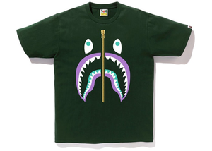 BAPE Colors Gold Zip Shark Tee Green Size S
