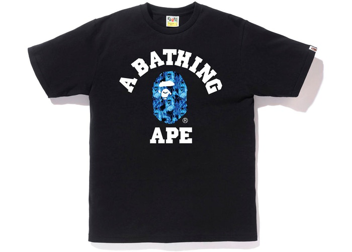BAPE Flame College Tee Black/Blue Size S