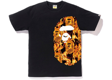 Load image into Gallery viewer, BAPE Flame Side Big Ape Head Tee Black/Orange Size M
