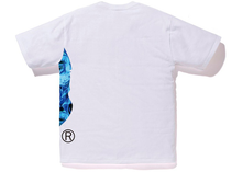 Load image into Gallery viewer, BAPE Flame Side Big Ape Head Tee White/Blue Size M