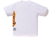 Load image into Gallery viewer, BAPE Flame Side Big Ape Head Tee White/Orange Size S