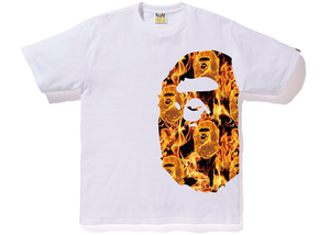 BAPE Flame Side Big Ape Head Tee White/Orange Size S