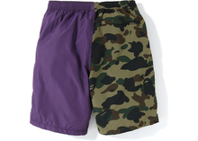 Load image into Gallery viewer, BAPE Half 1st Camo Shark Beach Shorts Purple/Green Size M / L