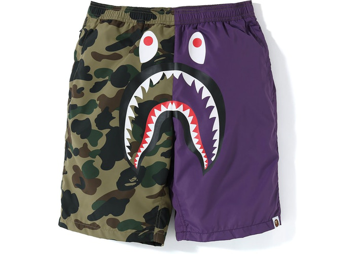 BAPE Half 1st Camo Shark Beach Shorts Purple/Green Size M / L