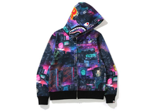 Load image into Gallery viewer, BAPE Neon Tokyo Shark Wide Full Zip Hoodie Black Size S