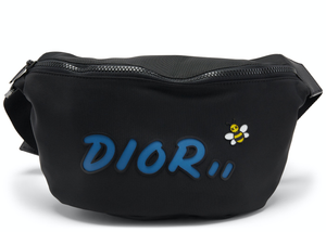 Dior x Kaws Belt Bag Blue Logo Nylon Black
