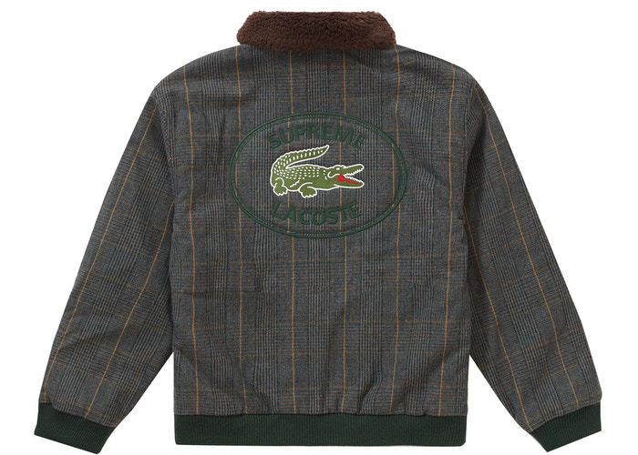 Supreme LACOSTE Wool Bomber Jacket Plaid Size L