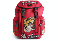 Load image into Gallery viewer, Gucci Backpack L'Aveugle Par Amour Embroidered Techno Canvas Red