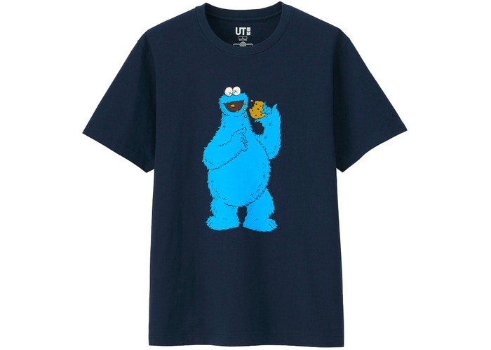 KAWS x Uniqlo x Sesame Street Cookie Monster Tee Navy Size M