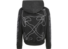 Load image into Gallery viewer, OFF-WHITE Embroidered Abstract Arrows Hoodie Black Size S