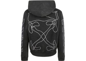 OFF-WHITE Embroidered Abstract Arrows Hoodie Black Size S