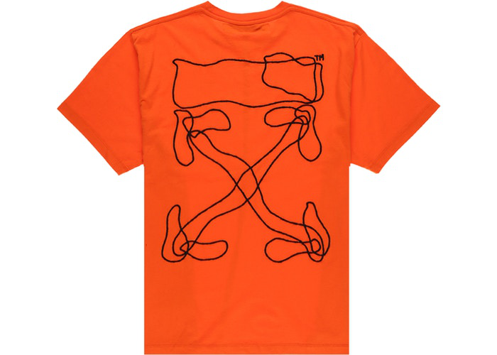 OFF-WHITE Oversized Abstract Arrows Embroidered T-Shirt Orange/Black Size M / L / XL