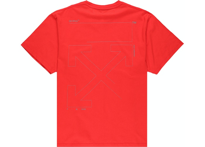 OFF-WHITE Oversized Fit Unfinished T-Shirt Red/Silver Size L