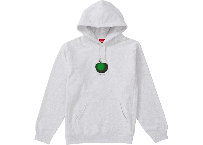 Supreme Apple Hooded Sweatshirt Ash Grey Size XL