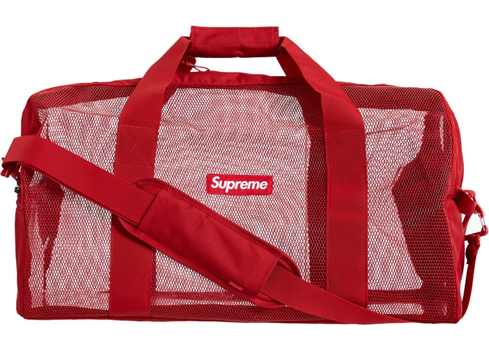 Supreme Big Duffle Bag Blue Chocolate Chip Red
