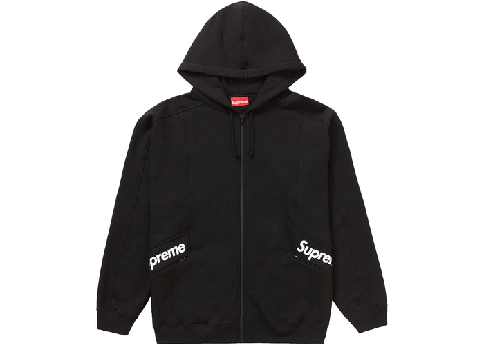 Supreme Color Blocked Zip Up Hooded Sweatshirt Black Size L