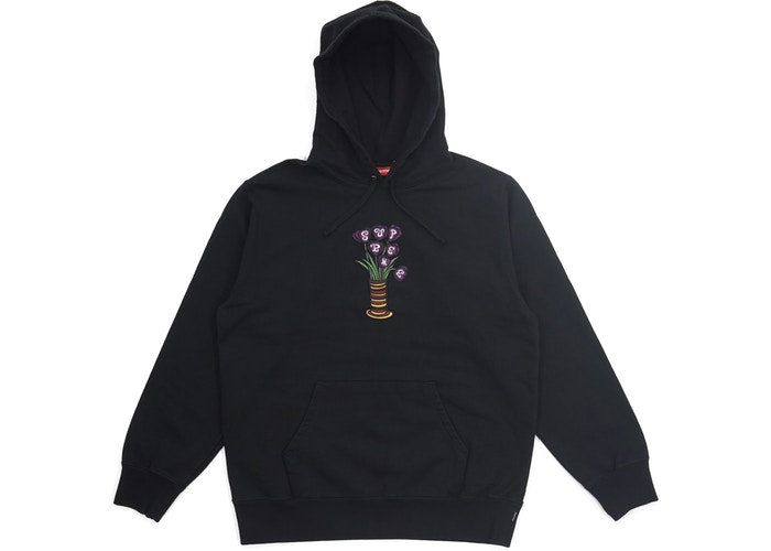 Supreme Flowers Hooded Sweatshirt Black Size M