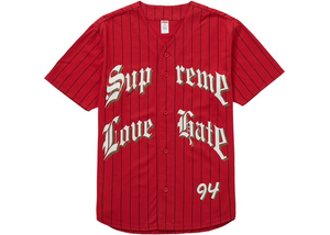 Supreme Love Hate Baseball Jersey Red Size M