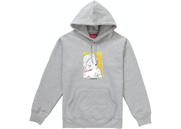 Supreme Nose Bleed Hooded Sweatshirt Heather Grey Size L