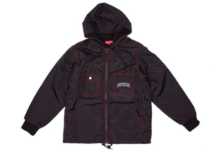 Supreme Sherpa Lined Nylon Zip Up Jacket Black