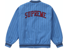 Load image into Gallery viewer, Supreme Pinstripe Varsity Jacket Blue Size XL