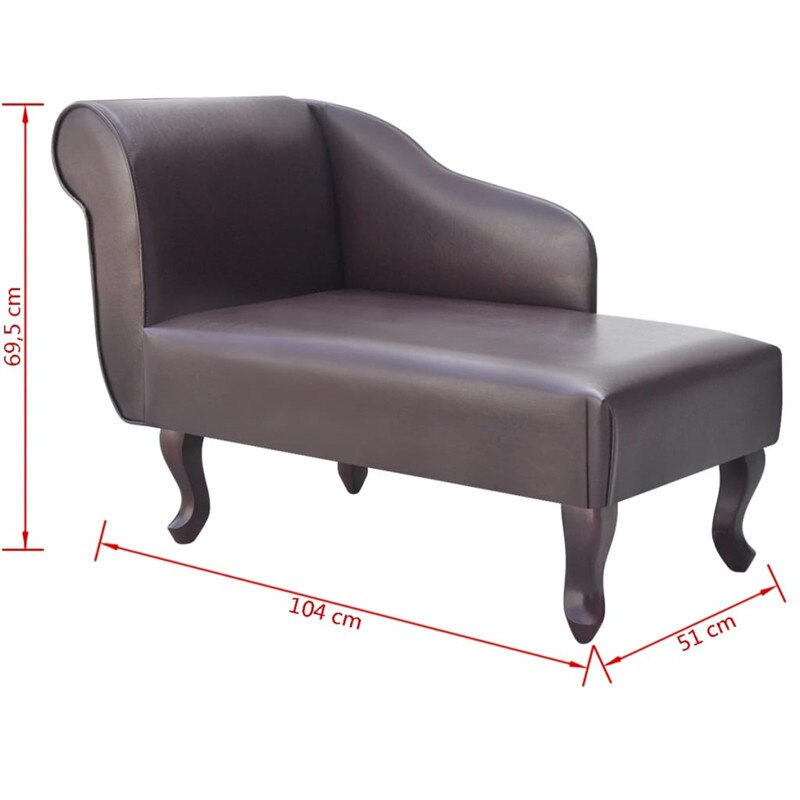 Kunstleren chaise lounge met linker armleuning bruine chaise longues