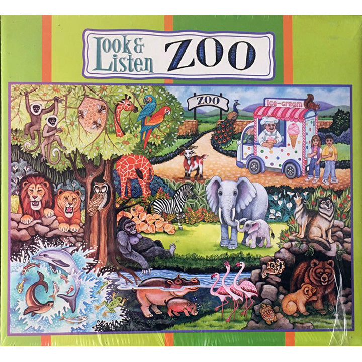 Puzzle, cardboard, 17 pieces, Look and listen, Zoo giant floor with inset pieces plus CD