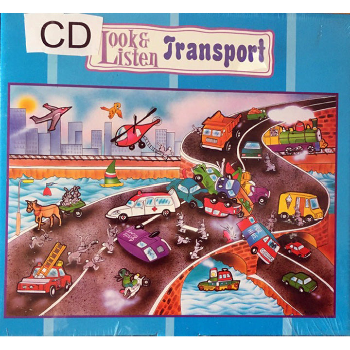Puzzle, cardboard, 24 pieces, Look and listen, Transport, giant floor with inset pieces plus CD