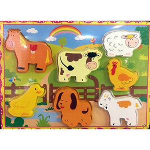 Puzzle, wooden, raised, Farm animals