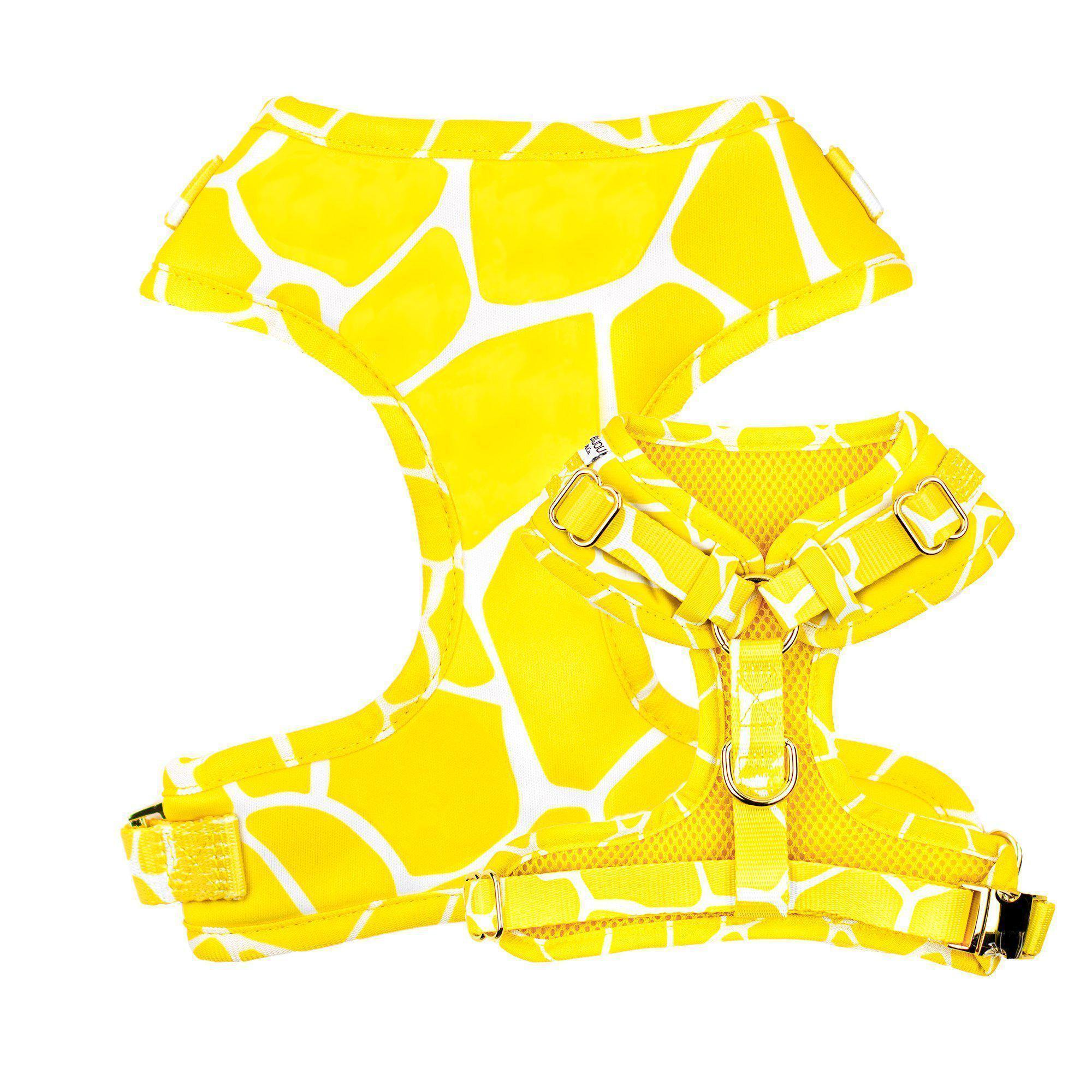 Yellow giraffe dog harness
