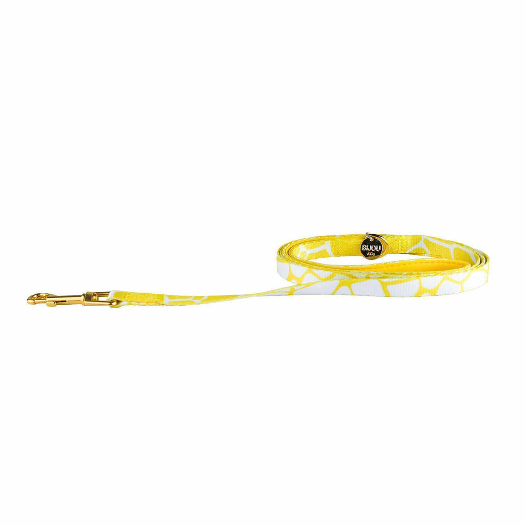 Yellow giraffe dog leash-animal print dog leash-Bijou and Co.