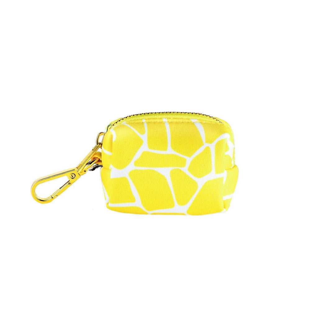 Yellow giraffe poop bag holder-animal print poop bag holder-Bijou and Co.