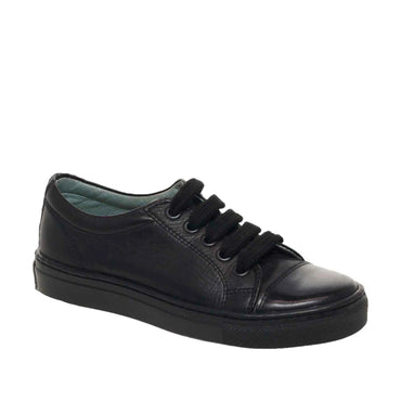 Petasil School Shoes, Peel Black Leather