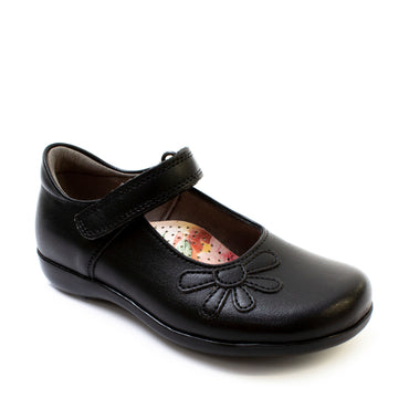 Petasil School Shoes, Vonnie Black Leather