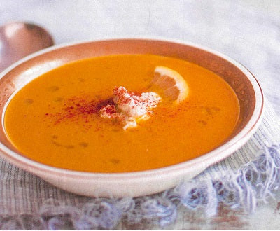 Harissa Carrot & Pumpkin Soup with Cashew Cream