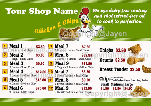 chicken and chip menu