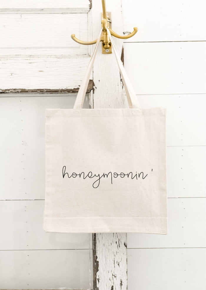 Honeymoonin' Bride Tote Bag, Canvas Tote Bag, Beach Bag, Honeymoon Bag